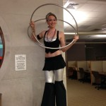 Katie Mesmerie Stiltwalking in Silver